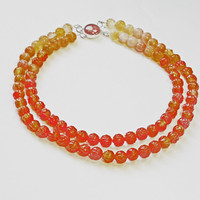 Carnelian Necklace, Double Row, Carved Beads, Orange Necklace, Carnelian Clasp, Graded Shades, Autumn Colors