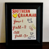 Southern Grammar Art Print. You, Y'all, All Y'all. Country Chic Home Decor. Typography Print.