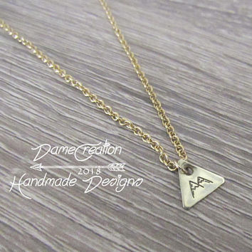 Hiking Gifts for Women, Tiny Triangle Necklace, Geometric Necklace Minimalist Jewelry, Mountain Triangle Necklace, Mountains are Calling