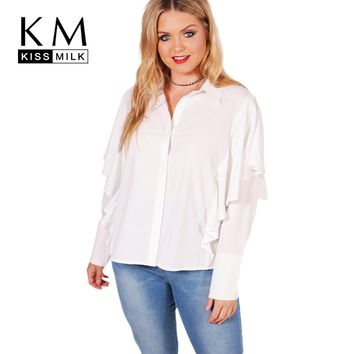 Kissmilk 2018 Fashion Women Shirt Solid White Ruffles Long Sleeve Female Blouse Casual Turn Down Collar Office Lady Tops