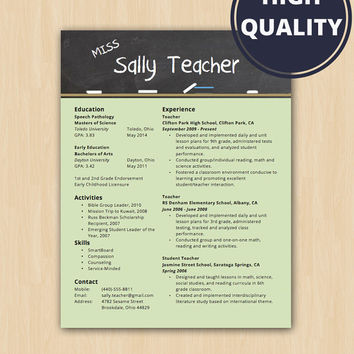 Elementary School Teacher Resume - Modern Resume Template - Instant Download - Microsoft Word DocX and Doc Format