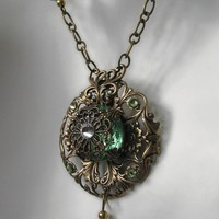 Victorian style Periot Glass Pendant Necklace by steamheat on Etsy