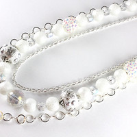 White and Silver Winter Snow Necklace, Three Strand, Moonscape Glass Pearl, Kashmiri, Rhinestone Pave, Chain