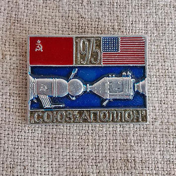 Apollo Soyuz Vintage Kosmos USSR USA badge Test Project ASTP Space pins Soviet spacecraft Space flight badge Soviet space program mission