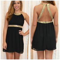 Get Your Shine On Black Sequin Cocktail Dress