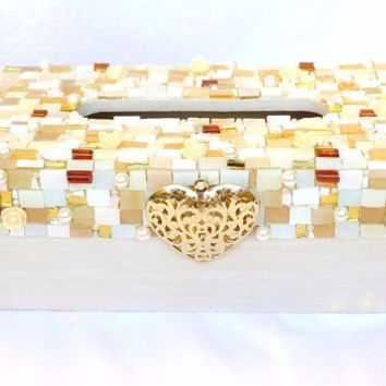 Jewelry covered Tissue Box holder, wodden Tissue Box Cover with Tiffany Glas, Wedding Bridal Gift, Mosaic Tissue Box