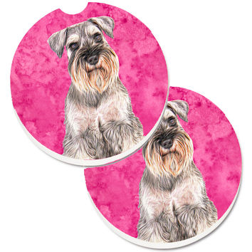 Pink Schnauzer Set of 2 Cup Holder Car Coasters KJ1229PKCARC