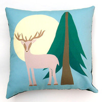Deer with Antlers, Moon, Pine Tree, Blue Green, Pillow Cover 16 inch, Decorative Throw Pillow Cover, Cushion Cover, Sham