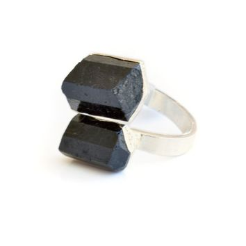 Black Tourmaline Duo Ring