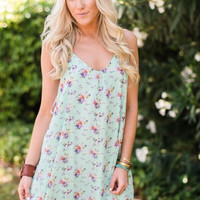 Minted Floral Swing Dress
