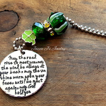 Irish Blessing Car Charm, May The Road Rise To Meet You Rearview Mirror Charm, Irish Themed Handstamped Car Charm, Car Accessories