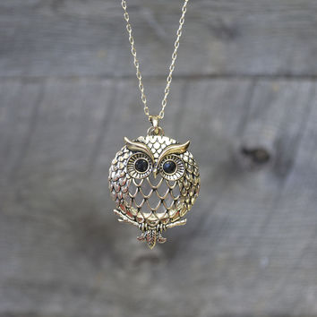Midnight Owl Long Necklace