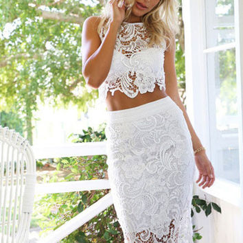 White Sleeveless Crop Top and Bodycon Skirt Floral Lace Overlay Dress