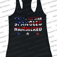 Women's Red White and Blue Tank Tops - Time to get Star Spangled Hammered