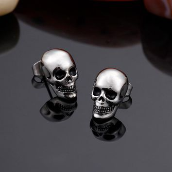 TrustyLan Punk Rock Skull Mens Earrings For Women Stainless Steel Small Stud Earings Fashion Jewelry 2017 Dropshipping Gift New