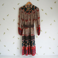 vintage 60s dress / bohemian / floral / cranberry, cornflower + cream / hippie / midi length / small / medium