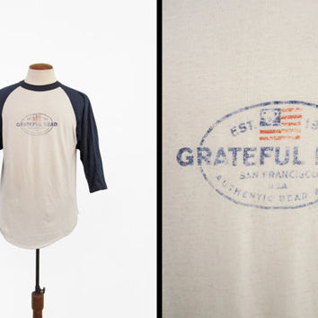 Vintage Grateful Dead T-shirt Jersey Two Tone Tour Shirt Faded and Worn - Medium