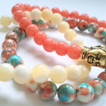 Set of 3 Gemstone Bracelets, Healing bracelets, buddha, yoga jewelry, boho chic, stackable bracelets, layered bracelets, gift idea