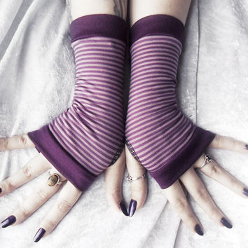 Royal Rebel Fingerless Gloves - Plum Purple Lavender Lilac Striped Bamboo Cotton - Yoga Belly Dance Dark Tribal Fusion Emo Tarot Bohemian