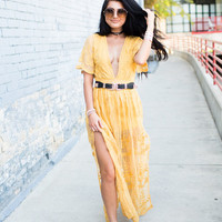 To Die For Gypsy Lace Sheer Maxi Dress Mustard