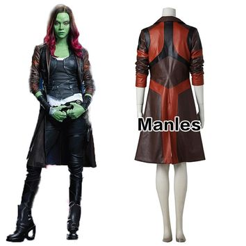Gamora Cosplay Jacket Guardians of the Galaxy 2 Costume Halloween Clothes Fancy Trench Adult Women Carnival Coat Movie Customize