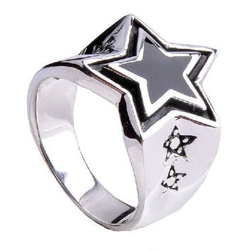 Pointed Five Star Ring Men's Pentagram Jewelry Punk Rock Men's Fashion-Size 7