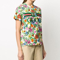 GUCCI Hot Sale Women's Floral Letter Embroidered Top T-Shirt