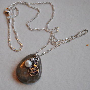 Petoskey Stone necklace with sterling Star of David charm, white freshwater pearl , Michigan necklace, Up North