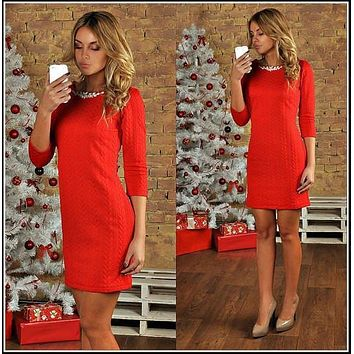 Scoop 3/4 Sleeves Bodycon Striped Pure Color Short Dress
