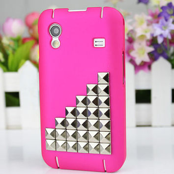 Peach Hard Case Cover With Silvery Stud For Samsung Galaxy Ace S5830