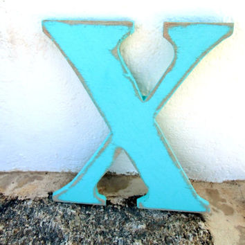 distressed wood letter X hanging decor rustic 8 inc  Distressed wooden letter wall hanging nursery wood names cottage chic brown