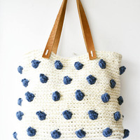 Ladies shoulder bag crochet purse large hobo bag over the shoulder woven handbag with navy blue dots, genuine leather bottom and handles