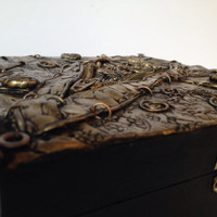Steampunk one of a kind handmade jewelry box / trinket box / treasure box with polymer clay in brass