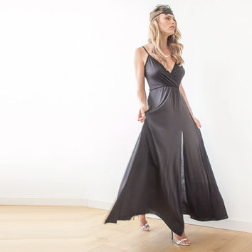 Black straps wrap gown, Black maxi dress with slit