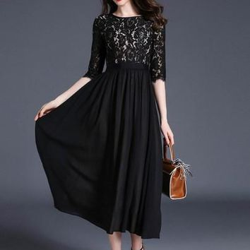 Womens Embroidery Lace Black Hollow Maxi Dress (d)