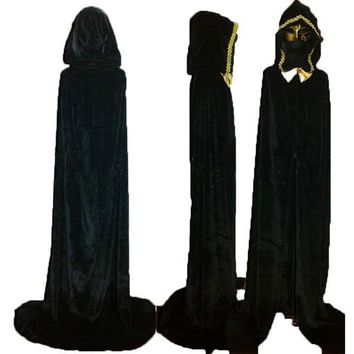 Adult Gothic Hooded Velvet Cloak Wicca Robe Medieval Witchcraft Larp Cape Halloween Costumes Women Men Vampire Size S M L XL