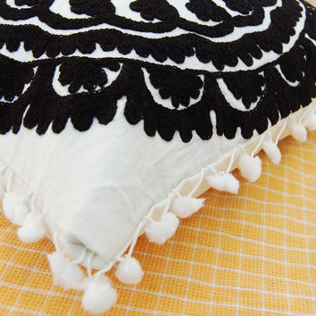 """Beautiful Black Wool Hand Embroidered Cushion Cover Suzani Cushions Turkish Style Home and living decor Decorative Pillow Cotton Canvas 16"""""""