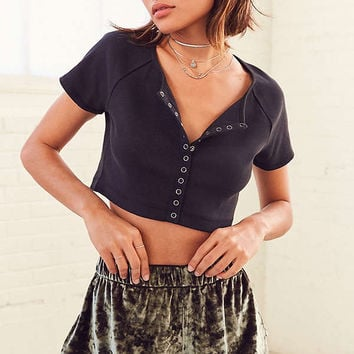 Silence + Noise Velour Shorty Short | Urban Outfitters