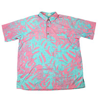 Vintage 90s Teal/Pink 1/2 Button Hawaiian Shirt Mens Size Large
