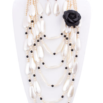 Rose Flower and Simulated Pearl Statement Necklace and Earrings Set