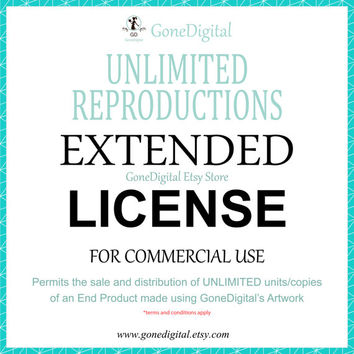 Unlimited Reproductions Extended License Commercial Use No Credit Volume License Multi Use Unlimited Units of an End Product Digital Clipart