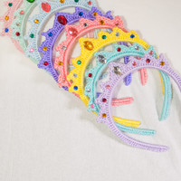 Princess Tiara Headband, Tiara Headband, Crocheted Headband, Headband with Colored Gems