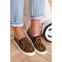 Nine Lives Slip On Sneakers (Camel/Black Leopard)