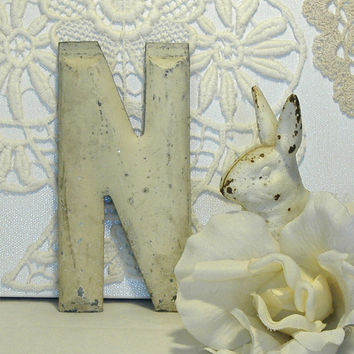 Salvaged Industrial Vintage Letter N c1900 Chippy Paint 5 Inch Architectural Marquee Initial Alphabet Font Urban
