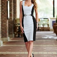 Ivory Multi Color block sheath dress from VENUS
