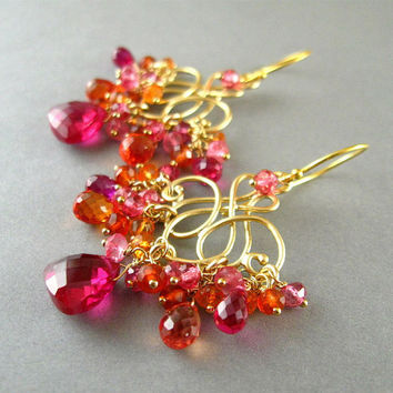 Neon Pink and Orange Chandelier Earrings Quartz and by SurfAndSand