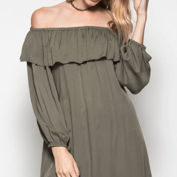 Off the Shoulder Ruffle Tunic Dress - OLIVE