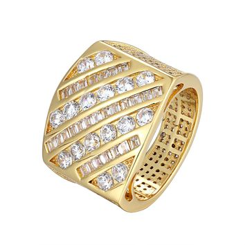 14k Gold Finish Iced Side Out Princess Cut Custom Men's Ring