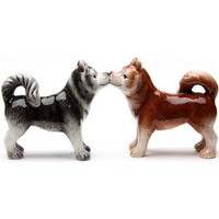 Siberian Huskies 3 Inch Ceramic Magnetic Salt and Pepper Shaker Set Fun Novelty Gift
