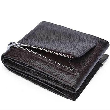 Genuine Cow Leather Men Wallet Fashion Coin Pocket Brand Trifold Design Men Purse High Quality Male Card ID Holder